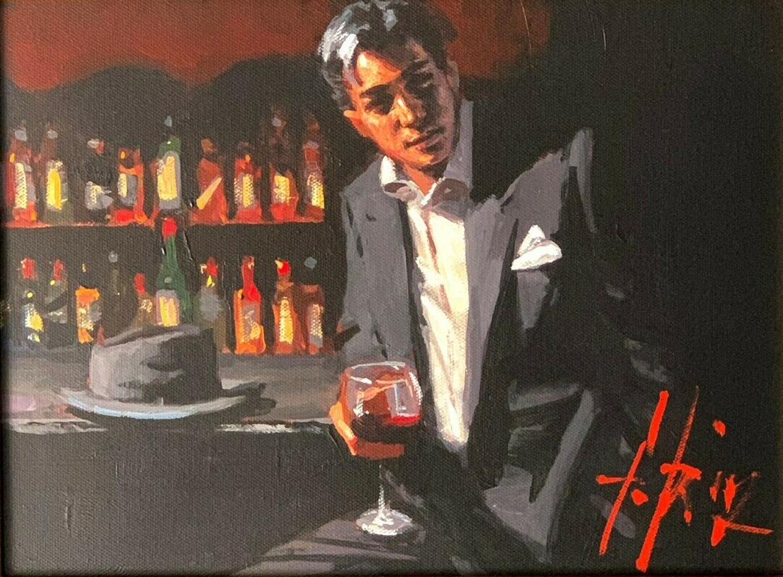 Black Suit Red Wine Home Decor Packpinted HD Imprimir Pintura al óleo sobre lienzo Arte de la pared Imágenes de lienzo 210106