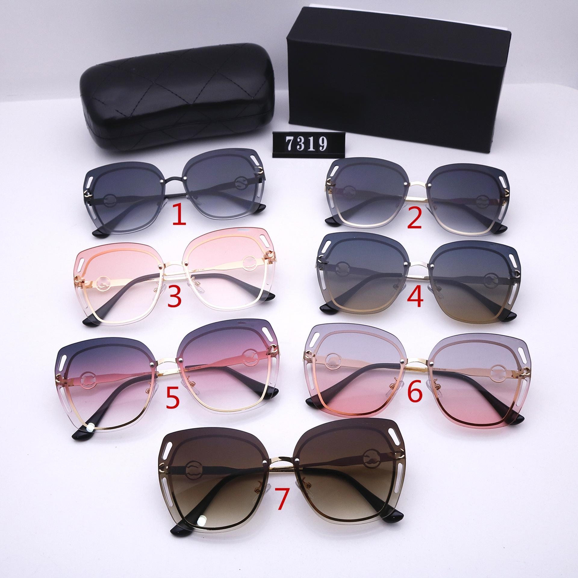 Семь Цветов Мода Безумические солнцезащитные очки для женщин Роскошные дизайнеры Высококачественные HD Поляризованные линзы Большие рамочные очки 7319