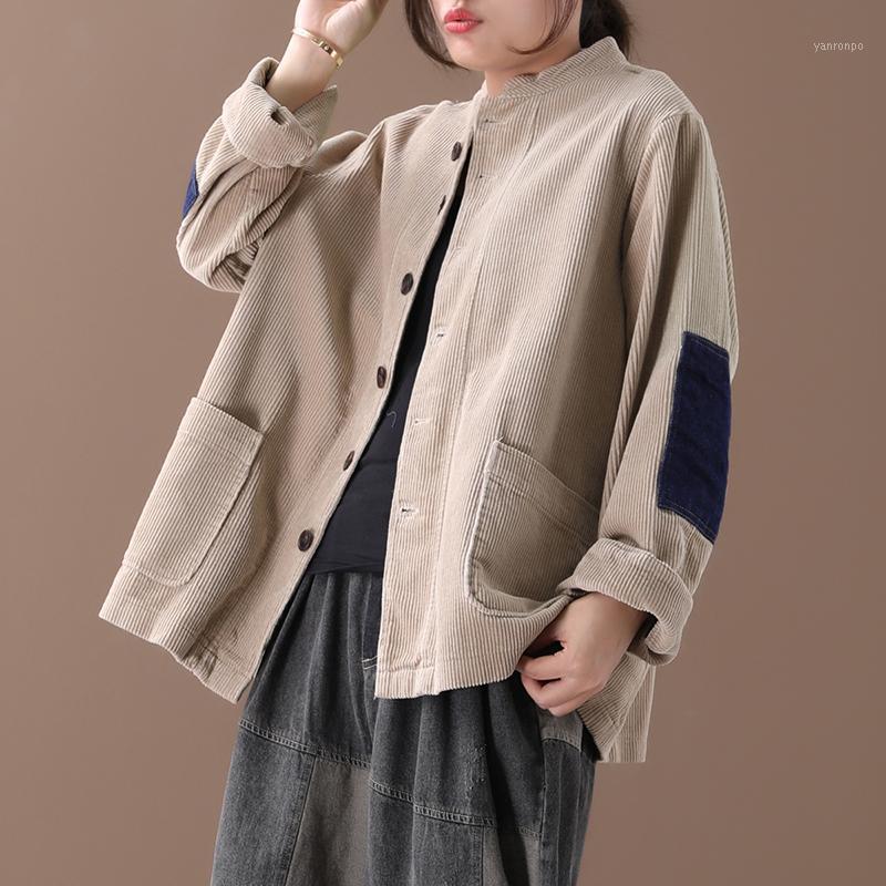 Kadın yeni sonbahar ve bahar Kore tarzı artı boyutu edebi renk eşleştirme yama tek göğüslü kadife gevşek kısa ceket1