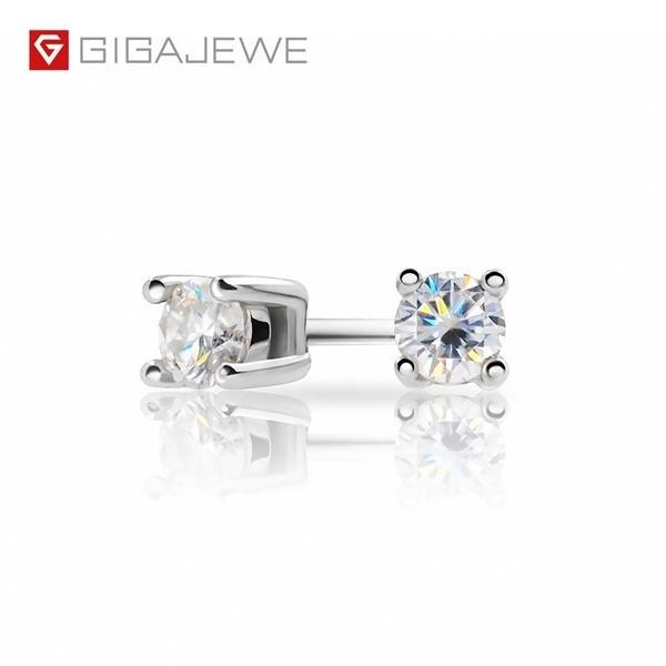 GIGAJEWE EF Round Cut Всего 0.2ct Алмазный тест пройден Муассанит 18K позолоченного 925 серебряных серег ювелирных изделий Girlfriend подарок C1003