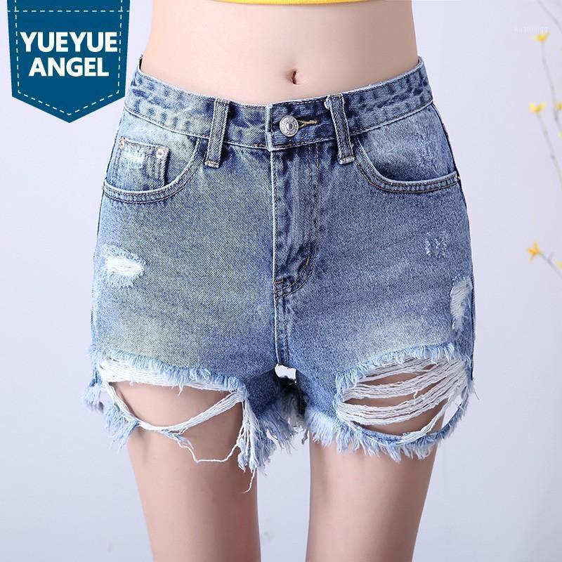 Женская летняя высокая талия дыра кисточка джинсовые шорты персонализированные колледж свободные подходят широкие ноги горячие короткие брюки повседневные короткими Mujer1