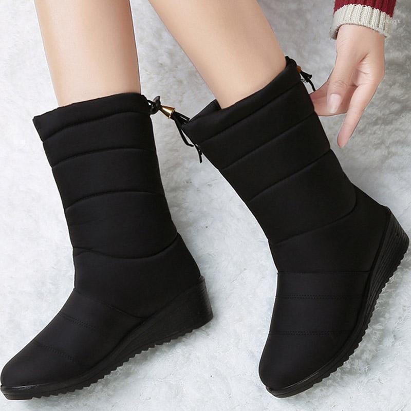 Сапоги Водонепроницаемая Зимняя Женская Обувь Mid-Calf Даун Женщины Теплые Дамы Снежок Bootie Клина Резиновые Плюшевые Botas Mujer 20211