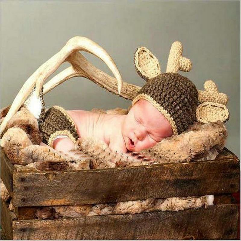 Pantalones de sombrero de ciervos de bebé de bebé lindo ropa divertida accesorios recién nacidos traje fotografía niños suministros