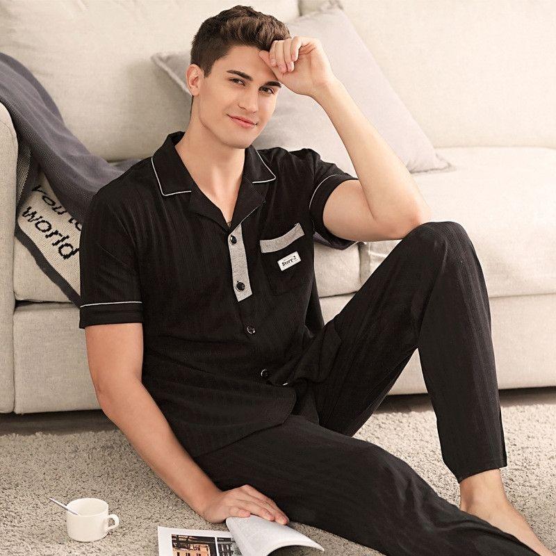 Süper Yumuşak erkek Modal Gece Takım Elbise Moda Yaka Pijama Adamın Siyah Kısa Kollu Pijama Set Uzun Pantolon Comfy HomeCy Boy LJ201130 Için