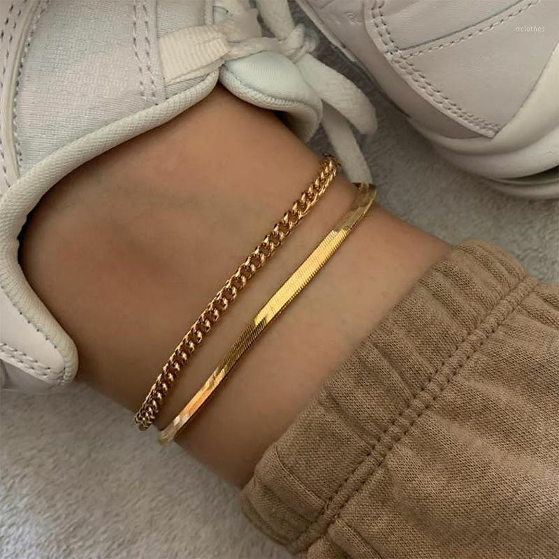 Golden Rose Gold Titanium Titanium Plat Snake Bone Chaîne Ankée Femelle Bracelet Boho Bijoux1