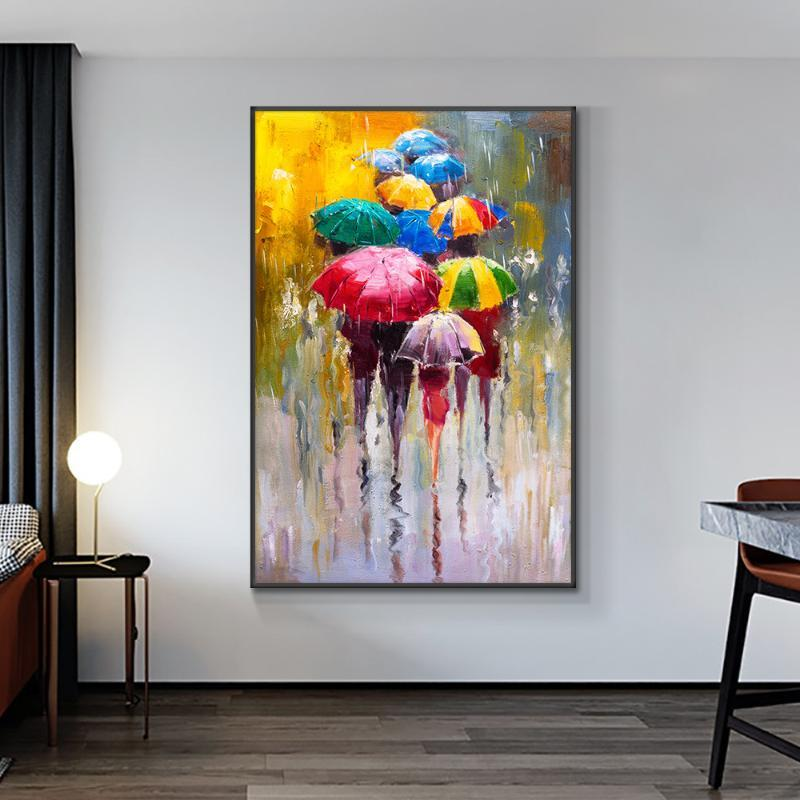 100% Ручная роспись маслом на холсте Аннотация Люди под дождем с Красочные зонтики Свадебное украшение для гостиной