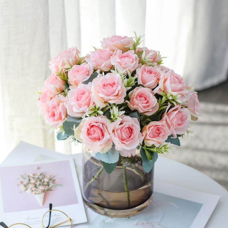 Silk Rose Pink Artificial Flowers Bouquet High Quality Plastic Accessories Home Living Room Wedding Table Decoration Fake Flower