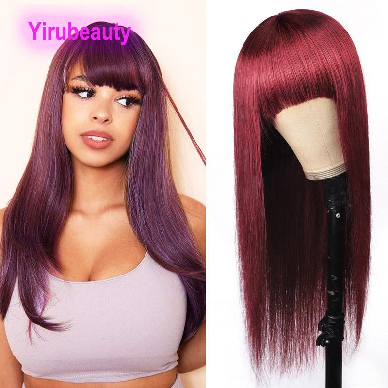 شعر الإنسان الباروكات الكابليس البرازيلي 100٪ عذراء الشعر البشري 99J مستقيم 10-32inch آلية كاملة الباروكة 99J منتجات الشعر yiriubeauty