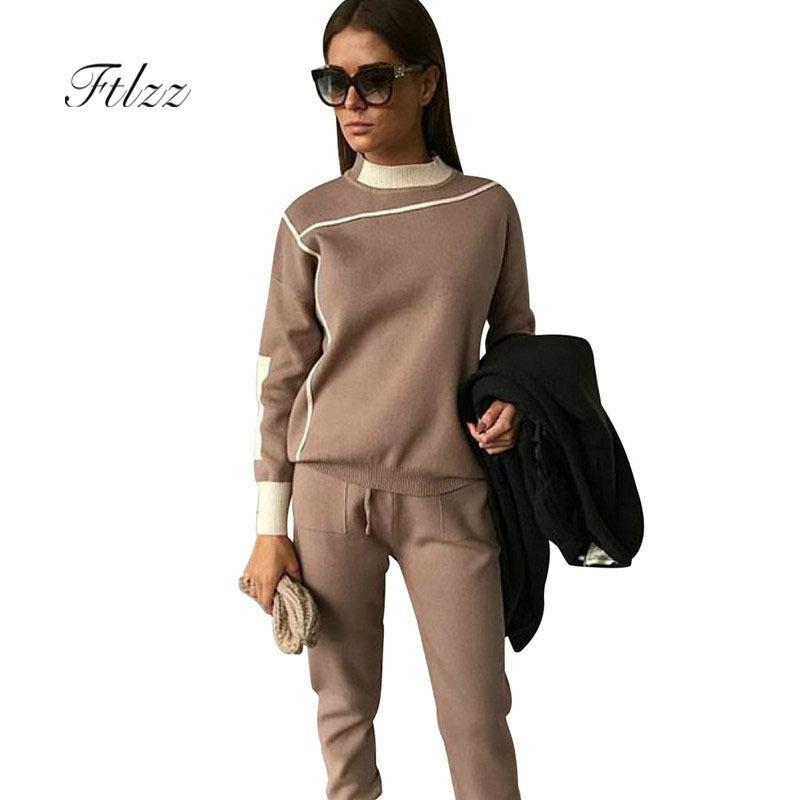 Mulher Tracksuits Outono Moda Turtleneck Sweater + Calças Slim Ternos Ternos Senhoras Stripe Two Peça Set Twinset 2 Pcs Set 201120