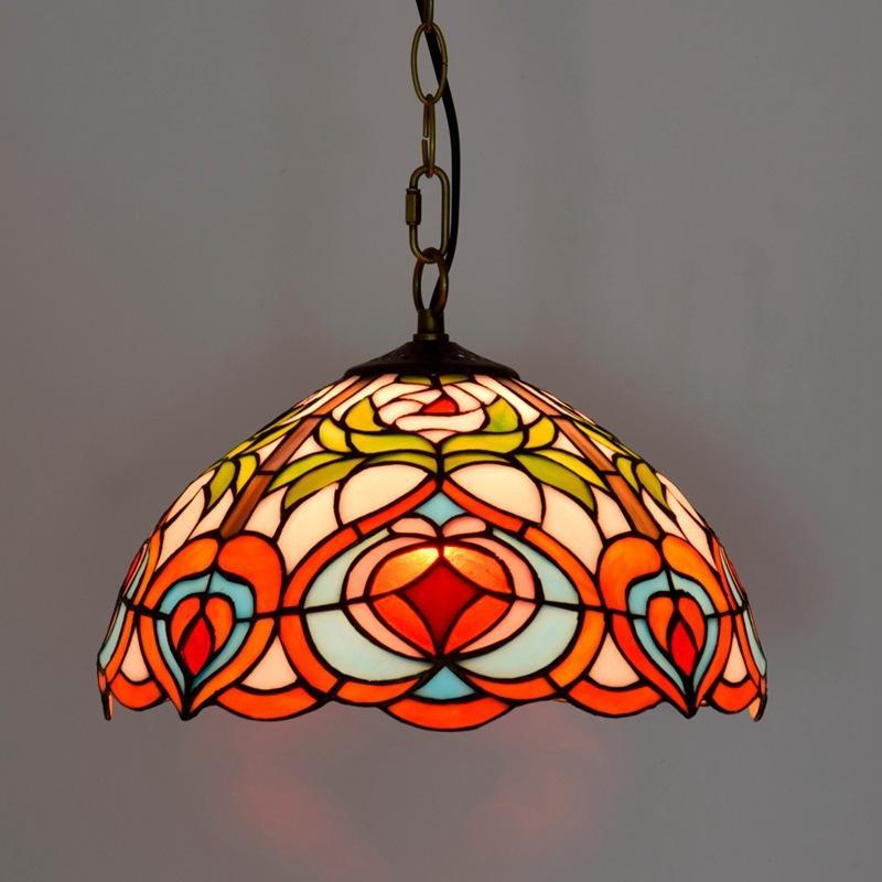 12 polegadas vitral Lâmpadas pêssego pingente Tiffany Bar luminárias cor corredor de vidro Suspenso Luminaire arte de jantar lâmpada quarto