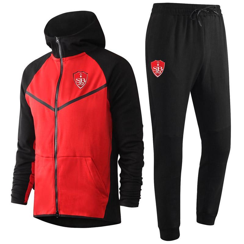 2020 2021 Stade Brestois Yetişkin Futbol Eğitim Eşofman Kitleri Kapşonlu Futbol Eğitim Takım Elbise Setleri Sivredement Maillots De Ayak Mentracksuits
