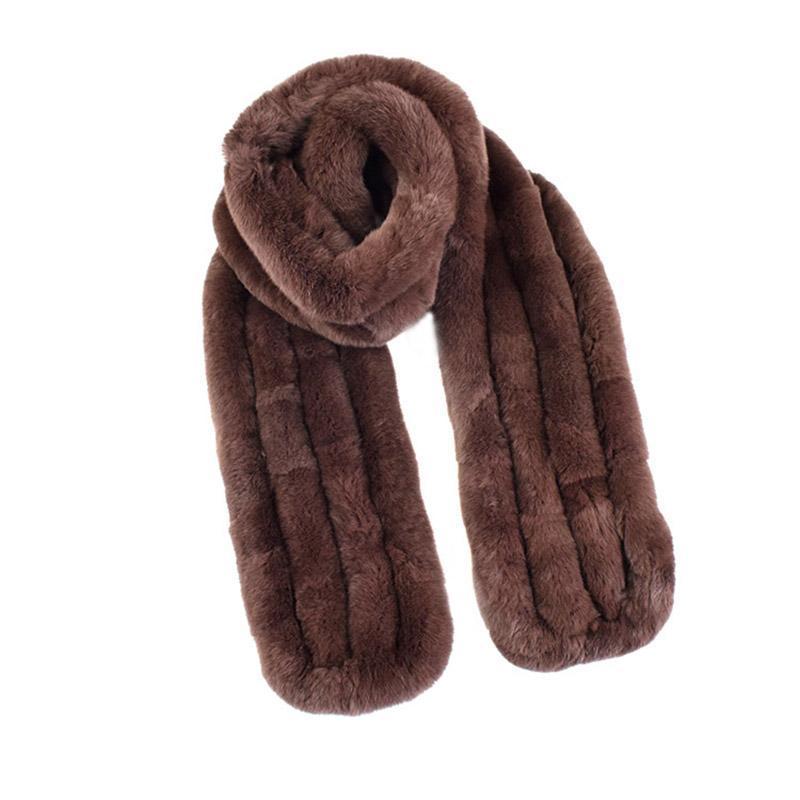 160cm Langer Schal Neue Natürliche Rex Pelz Lange Schal Mode Warme Dicke Gestrickte Pelz Weiche Schalldämpfer