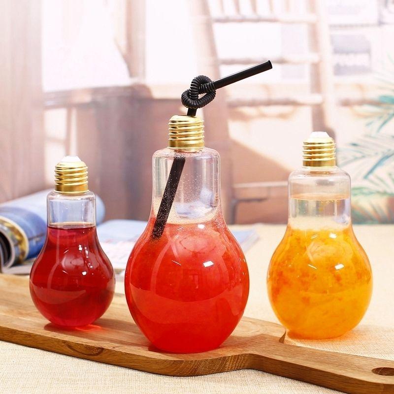 LED Light Bulb Plastic Milk Juice Water Bottle Disposable Leak-proof Drink Cup With Lid Creative Drinkware Wholesale VT0435