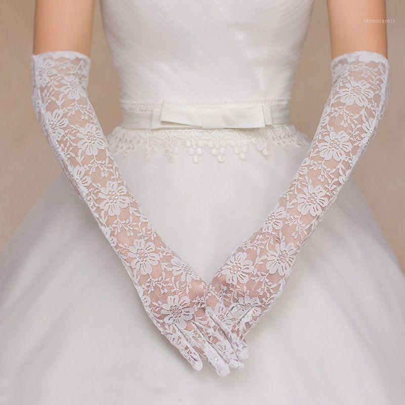 Hollow Floral Lace Long Wedding Gloves Solid Color Elbow Length Bridal Mittens1