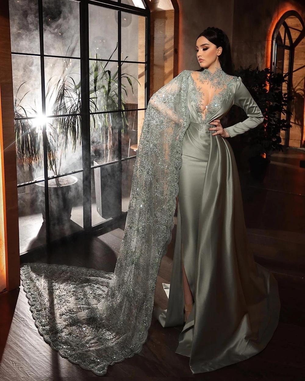 Tasarımcı Suudi Arapça Mermaid Uzun Abiye 2021 Yüksek Yaka Boncuklu Bir Omuz Balo Abiye Yan Bölünmüş Örgün Parti Elbise
