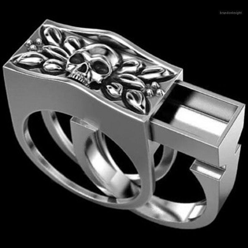 Vintage Hip Hop Skull Ring Mens Biker Silver Color Gothic Casket Anniversary Jewelry Punk Rock Engagement Finger Rings Set1