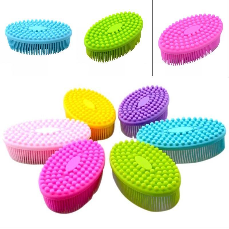 Silicone Elliptical Bath Brush No Handle Cleaning Soft Shower Brushes Home Body Bathing Antiskid Adult Kid Washing Gadgets 7 5ws G2