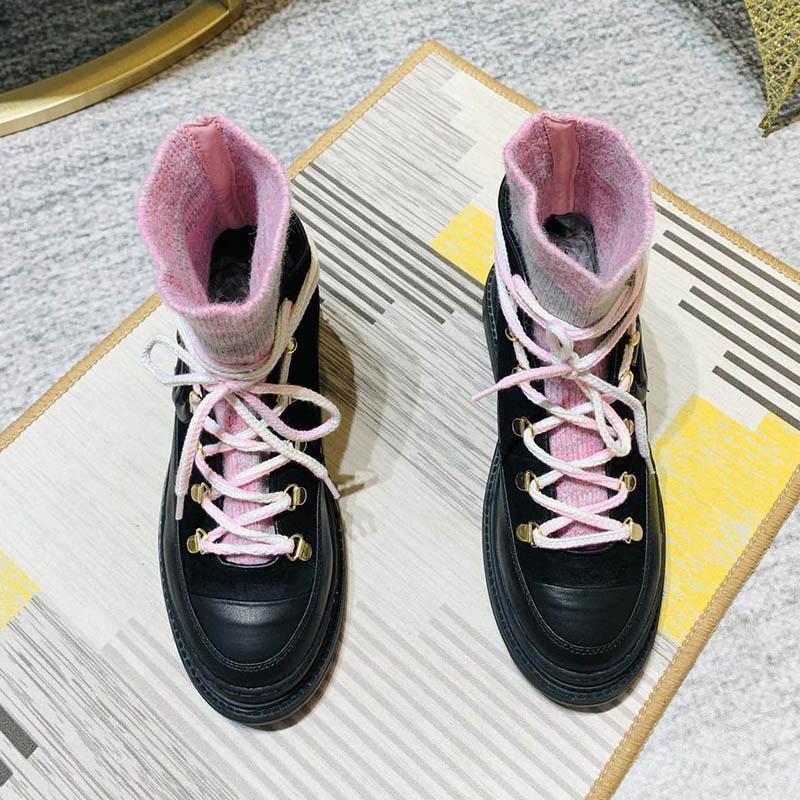 2021 Новые парижские бренды канал Royal Princess Booties женщин Martin Boot Thinated носки кожаные ботинки кожи винтажные ботинки
