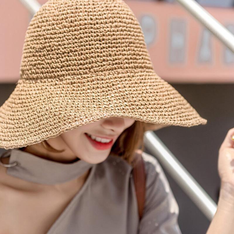 Lady Cappello di paglia di estate delle donne Visiera Sunhat Panama Paglietta Floppy Secchio Cap femminile donna cappello di paglia di estate Beach