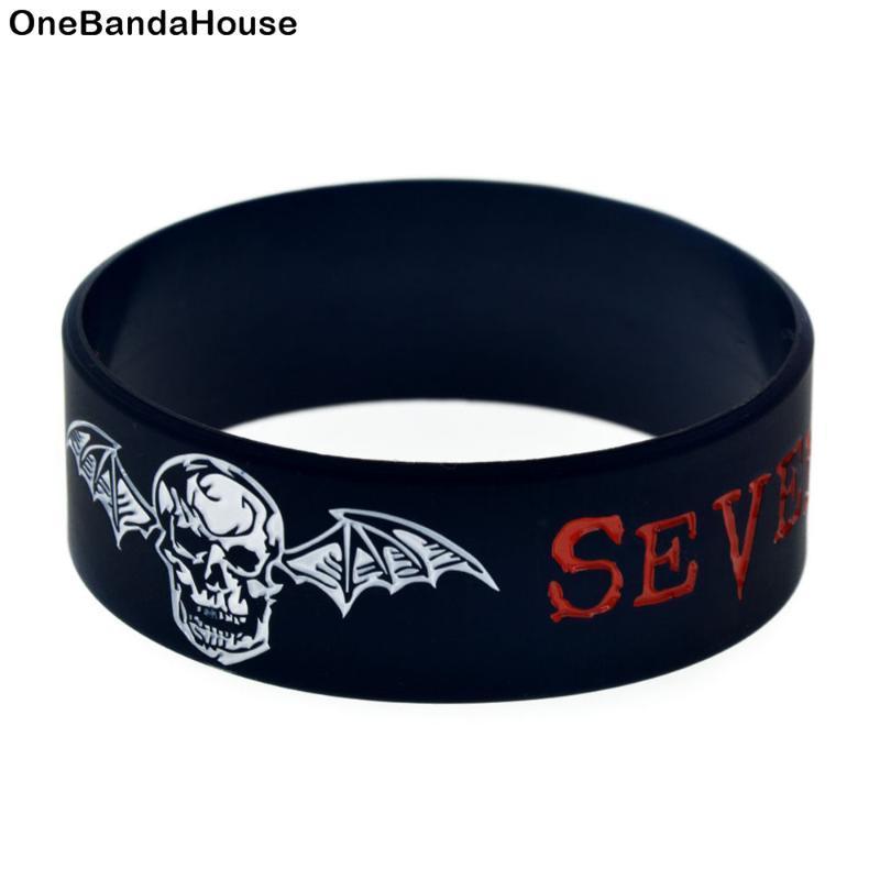 1PC Avenged Sevenfold caucho de silicona pulsera de una pulgada de ancho Negro