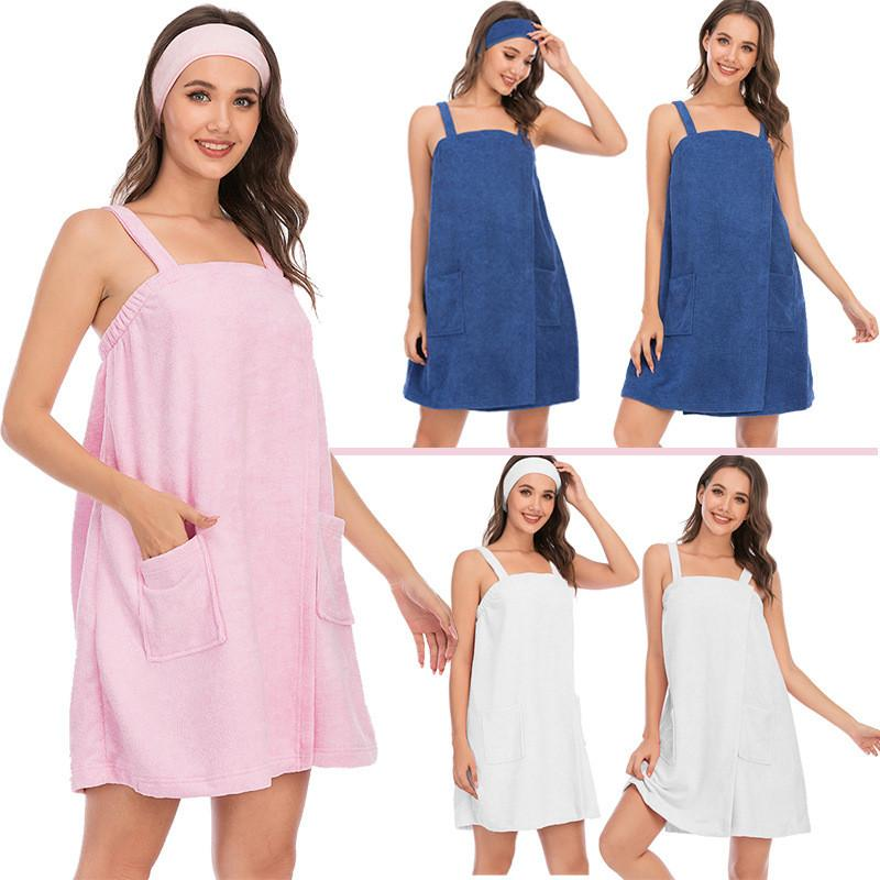 Sexy Womens Robes Spaghetti Strap Backless Sleepwear Dresses Absorbent Fashion Comfortable Women Homewear Clothes With Pockets