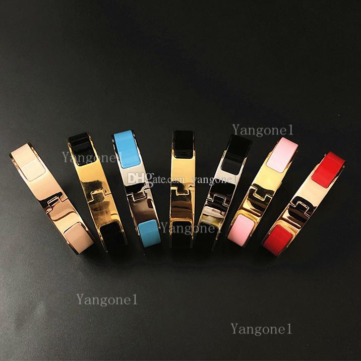 Мода Высочайшее качество 12 мм манжета из нержавеющей стали браслеты женские мужчины эмаль браслеты ювелирные изделия розовые золотые серебряные буквы браслеты подарок