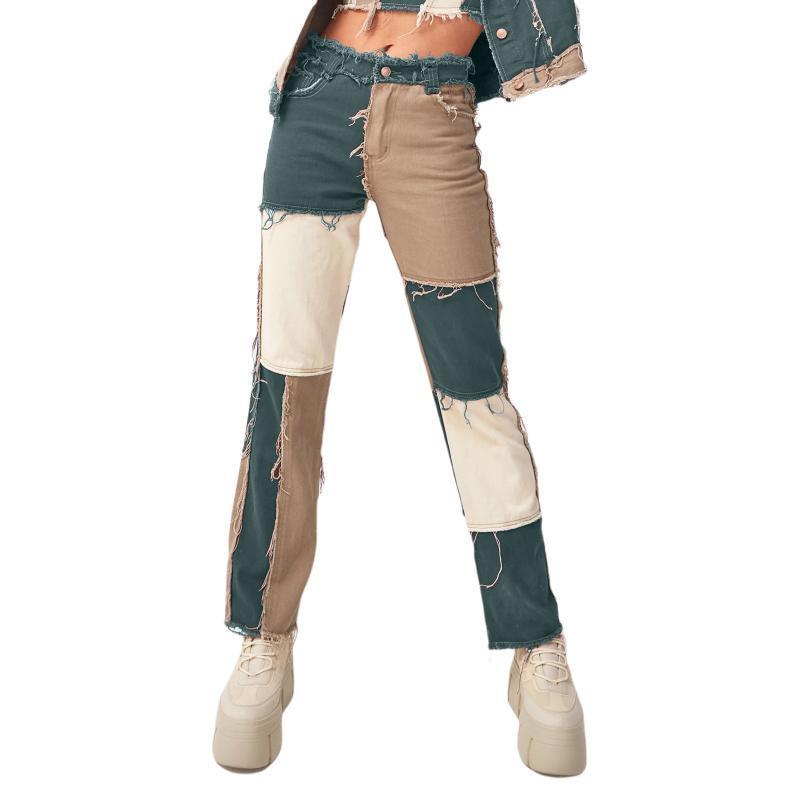 2020 Mulheres Moda Painéis Painéis Reta-perna Calças de Patchwork Calças de Jeans Mid-Rise Cor Bloco Solto Casual Legal Calças com Bolsos