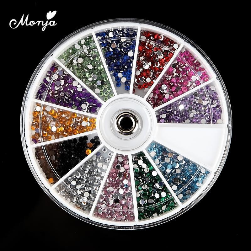 Monja 2mm 2400 stücke 122Grids / box nail art 3d flache rückseite rücken diamanten kristall strass perlen edel charme dekorationen zubehör rad