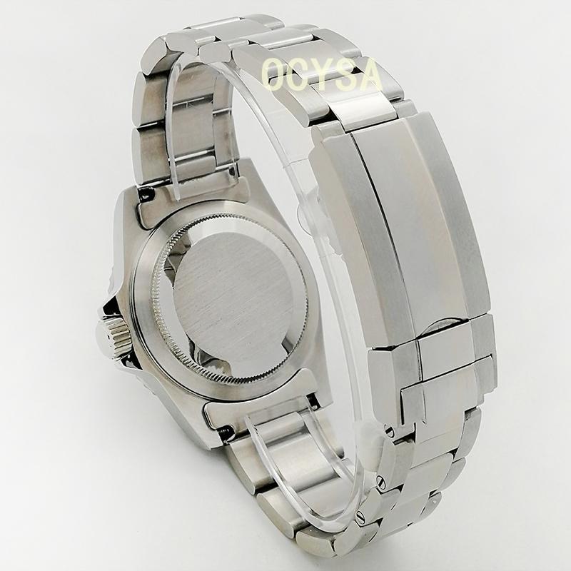 الفاخرة أزياء الليل ضوء الرجال ساعة 39.5mm الفولاذ المقاوم للصدأ ووتش الآلات التلقائية الآلات معقمة الطلب الأزرق الألومنيوم الإطار