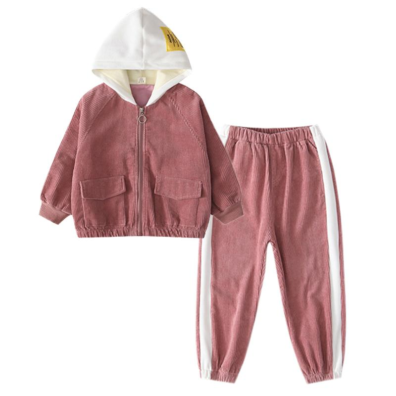 Corduroy crianças jaqueta com capuz meninas roupas conjunto zíper moletom calça 2 pcs esporte ternos adolescente tracksuits crianças roupas 20116