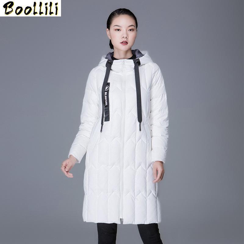 Boollili 2020 Piumino con cappuccio Donna Inverno cappotto lungo bianco anatra giù luce palla Yellow Jacket Coats Manteau Femme