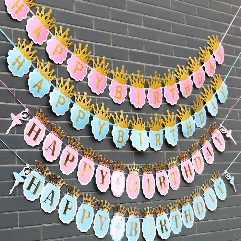 Bailarina de ballet papel corona feliz cumpleaños banner decoraciones de fiesta niños guirnalda niño niña niño montaje adulto favores suministros e