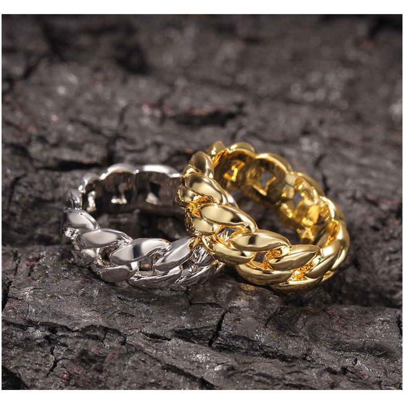 18k banhado a ouro cubano link anéis hiphop festa de casamento jewerly full gelado fora cúbico zircônia moda ri wmtsft rainha66