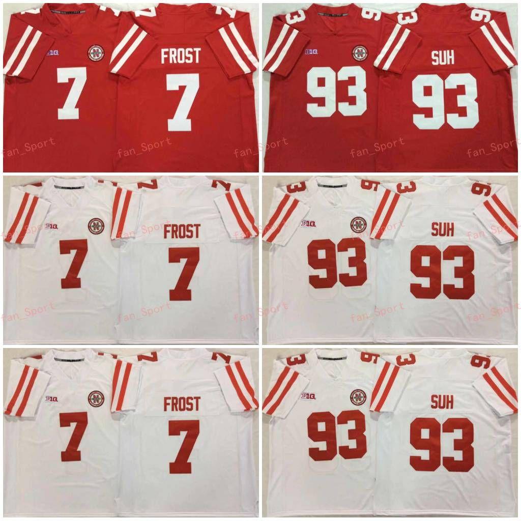 Mens NCAA Nebraska Huskers 7 Scott Gelo Jersey di calcio cucito rosso bianco # 93 Ndamukong Suh # 2 Adrian Martinez Nebraska CornHuskers Jersey