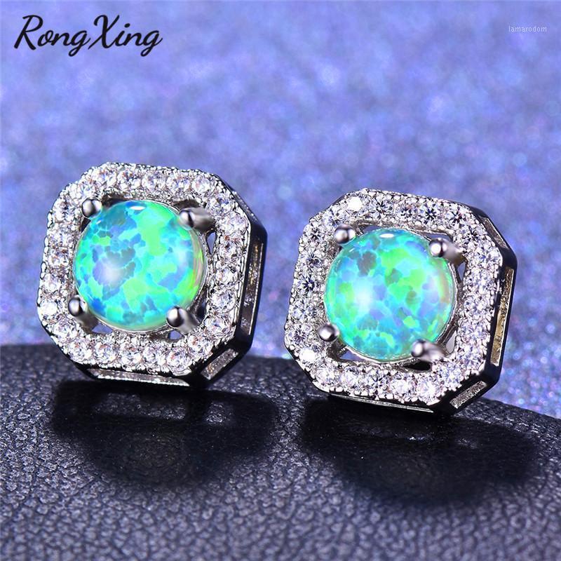 Rongxing Silber Farbe Weiß / Blau / Grün Feuer Opal Zirkon Square Ohrstecker Für Frauen Rainbow Birthstone Ohrringe1