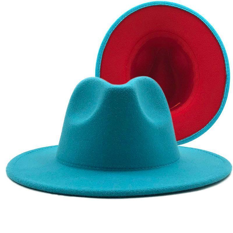 حافة واسعة قبعات بحيرة الخارجي الأزرق الداخلية الصوف الأحمر فيلت الجاز فيدورا مع رقيقة حزام مشبك الرجال النساء بنما تريلبي كاب 56-60 سنتيمتر