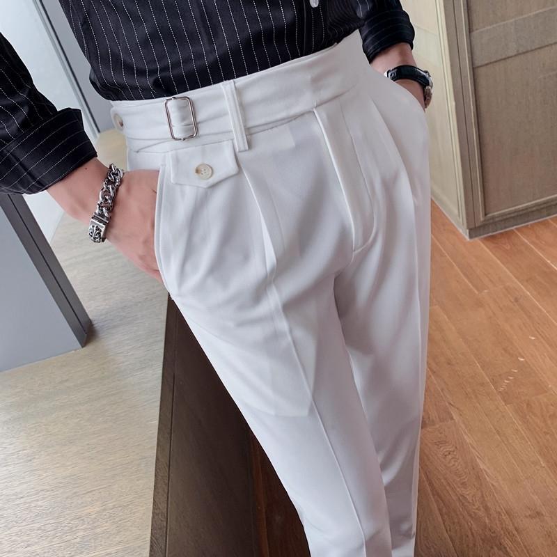 Kişilik Erkekler Elbise Pantolon Ofis Sosyal İş Takım Elbise Pantolon Rahat Slim Fit Düğün Streetwear Pantolon Pantalones Hombre 201123