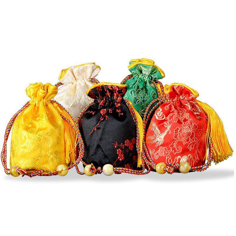 Fundo chinês redondo Silk Brocade Saco Tassel cordão presente Embalagem Bag Satin Jewelry Pouch Natal do damasco pequenos sacos 1pcs