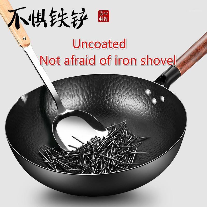 Pans Handmade железный горшок 32см безразрешенного здоровья WOK без пачкой газовая плита индукционная плита универсальная деревянная крышка1