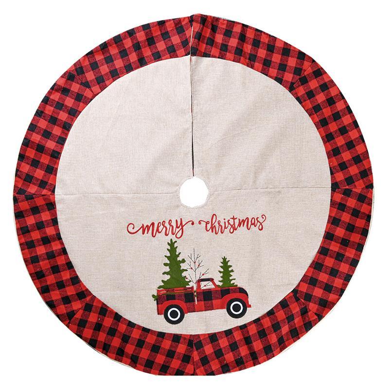 Noel Süsleri JK2010PH Kırmızı ve Siyah Ekose Sınır İşlemeli Ağacı Etek Dekor ile çuval bezi Yılbaşı Ağacı Etek
