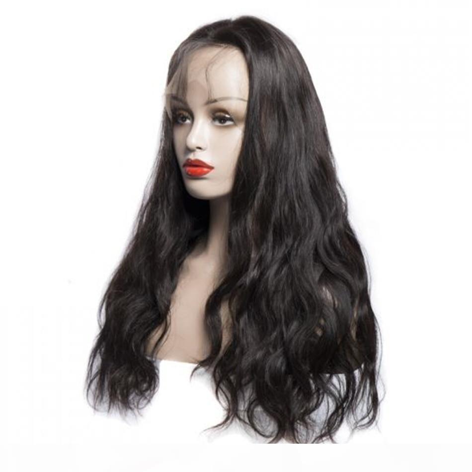 Doğal Dalga Dantel Peruk Remy İnsan Saç Tutkalsız Bakire Malezyalı Uzun 13x4 İnsan Saç Dantel Frontal Peruk İçin Siyah Kadınlar