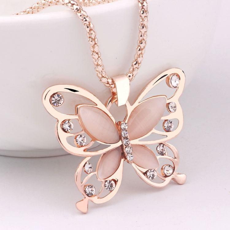 Hot coreano oro rosa 18 carati placcato della catena del maglione collana a catena Fortunati di farfalla lungo gioielleria collana del pendente della collana degli animali