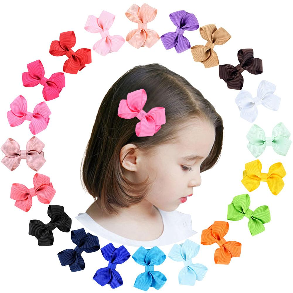 20 Colors Baby Girls Bowknot Barrettes Clips Infant Toddler Cute Hairpins Grosgrain Ribbon Bows Hairgrips Children Solid Barrette Kids Hair Accessories KFJ101