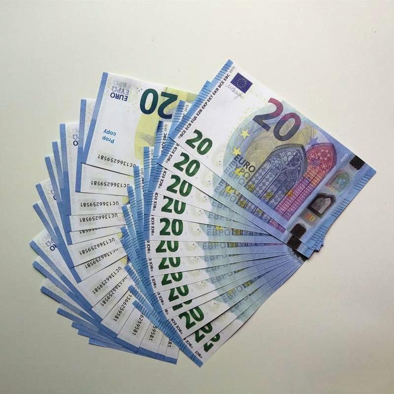 Euro Nightclub Bar Alta qualità Pretend 20 Euro Puntelli Falso Soldi Shooting Puntelli Gioca denaro Faux Billet 100 PCS / Pack