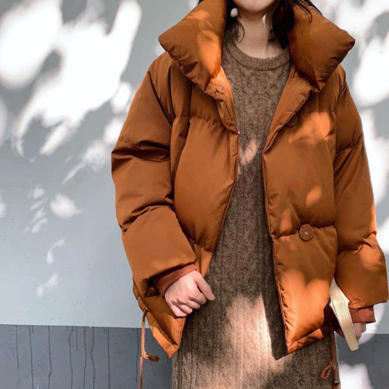 Женские Parkas 2021 зима Parka Part Part Women Куртка с длинным рукавом Сплошной стандартный воротник Теплый толстый качественный слои вскользь