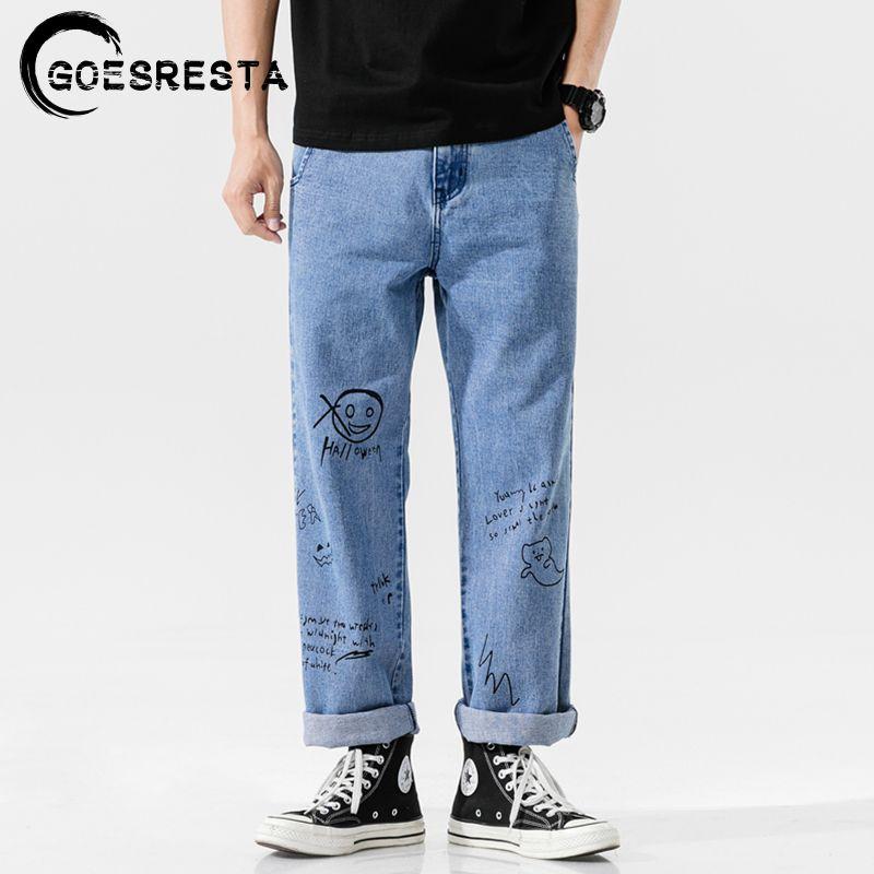 Goesresta Korean Fashoins 2020 Vintage Pantalones rectos Hip Hop Streetwear Harem Pants Harajuku Hombres holggy Jeans