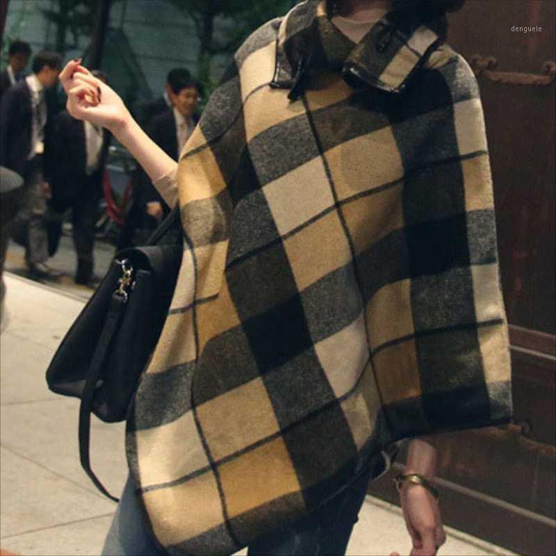 Outono inverno nova mulher xaile xaile high collar lapel design dobrável versão coreana de grande costura de lã cape1