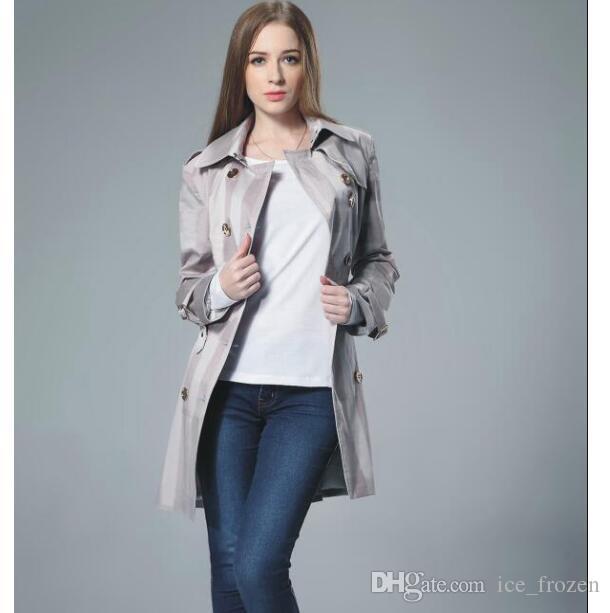 Le donne Plaid Trench Long Sleeve Inghilterra moda gira giù Cotone Londra Brit giacca doppiopetto classico Cappotti S-2XL