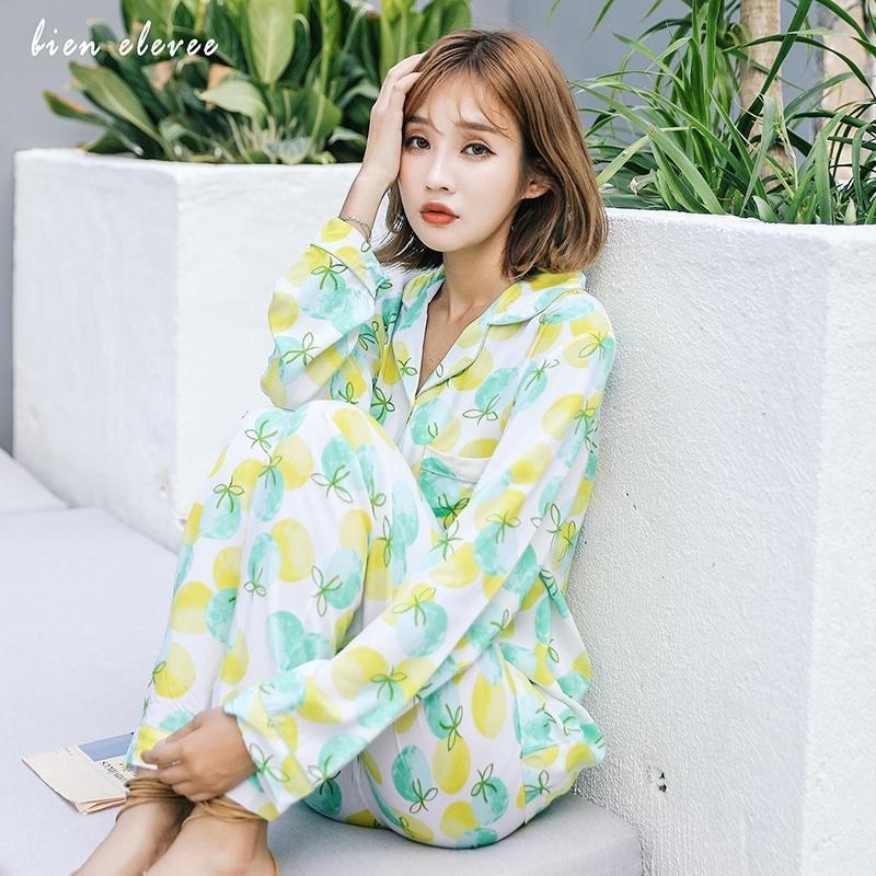 Женские пижамы наборы двух целых сонные одежды Домашний костюм для женщин Весна осень с длинным рукавом.