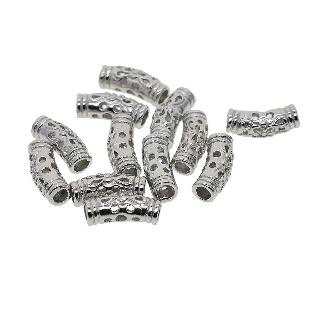 12pieces branco banhado a ouro filigrana contas tubo Pulseira Descobertas jóias DIY